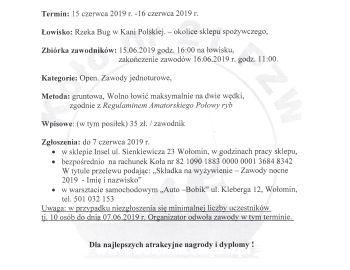Nocne zawody wędkarskie 15-16.06.2019.