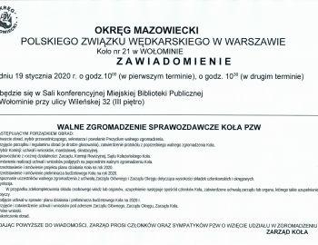 WALNE ZGROMADZENIE SPRAWOZDAWCZE KOŁA PZW NR 21 WOŁOMIN 19.01.2020.